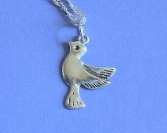 Silver Dove Charm Pendant Silver Necklace,Tibetan Silver,Tibetan Charm,Silver Bird,Silver Charm,Silver Chain,Silver Jewellery,Bird Charm.