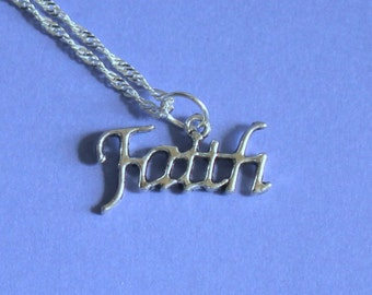 Silver Faith Charm Pendant Silver Necklace,Tibetan Silver,Tibetan Charm,Silver Pendant,Silver Charm Necklace,Silver Jewellery,Faith Pendant.