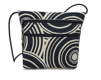 Black and white 2 Pocket Cross Body Bag