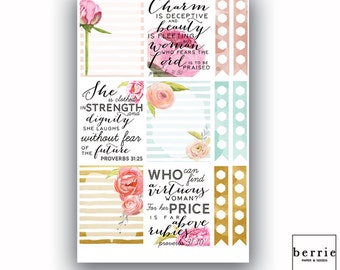 Floral Watercolor Quote Proverbs 31 Planner Stickers ECLP Happy Planner KikkiK Filofax