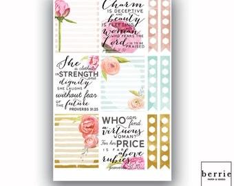 Floral Watercolor Quote Proverbs 31 Planner Stickers ECLP Happy Planner KikkiK Filofax