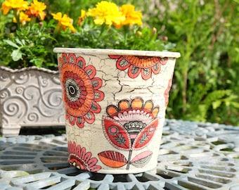 Tin flower pot: MOSAIC