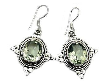 Dazzling Green Amethyst & Sterling Silver Dangle Earring Jewelry AC613