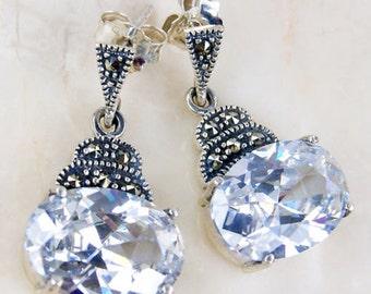 Cubic Zirconia, Marcasite & .925 Sterling Silver Dangle Earrings; M129