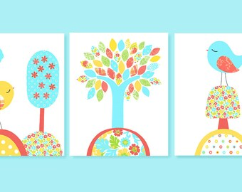 Aqua and Coral Bird Nursery, Bird Baby Room Decor, Set of Three Prints, Nursery Tree Print, Baby Girl Nursery, Aqua Coral Yellow, Toddler