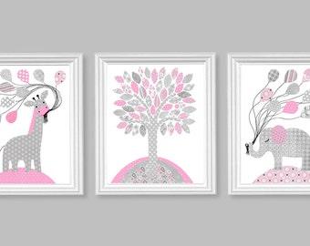 Gray and Pink Nursery, Elephant Nursery, Giraffe Nursery, Balloons, Jungle Animal Nursery, Grey and Pink Nursery Art, Vintage Style Nursery