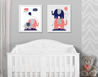 Elephant Nursery Art, Zoo Nursery Decor, Safari Nursery, Jungle Nursery, Girl's Room Decor, Elephant Baby Room, Elephant Prints, Canvas Art