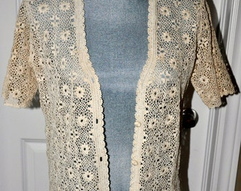 Vintage, cotton, crochet short sleeve cardigan