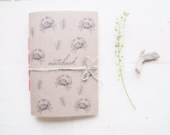 Sea notebook crab, sea style  journal travel diary