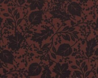 Fabric HALF YARD: Give Thanks - Brown Walnut Leaf Pattern by Deb Strain fir Moda Fabrics
