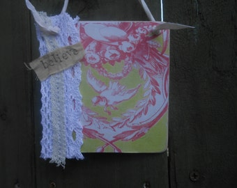 hanging wood sign birds toile de joy roses ribbons shabby chic french decor cream lace believe gift for her decorative plaque handmade