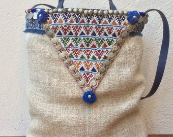"""Grain sack tote bag with """"tribal"""" details"""