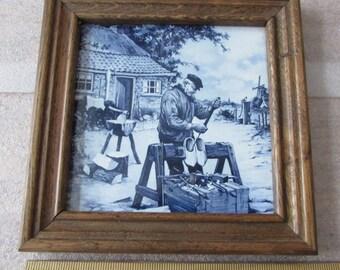 """Vintage Framed Delft Tile-Blue & White-Old Dutch Netherlands-8"""" Holland"""