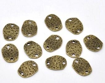 6 Antiqued Bronze Hammered Rectangle Connectors