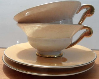 French vintage Porcelain cups and saucers