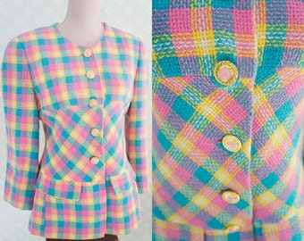PInk, yellow wool check print blazer. 80s clothing.