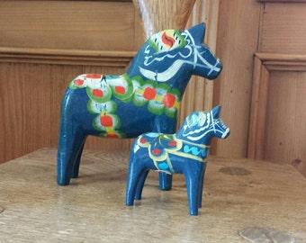 Dala horses, set of two blue