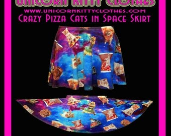 Cray Trippy Pizza Cats in Space - Skater Skirt