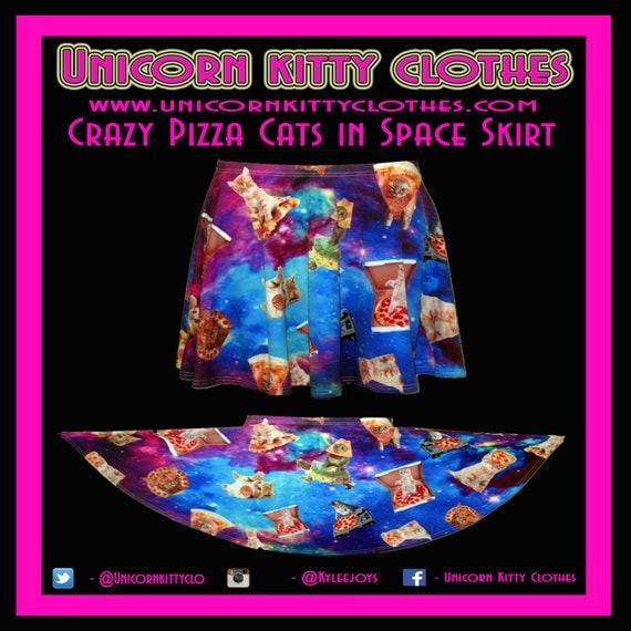 Cray trippy pizza cats in space skater skirt for Space pizza fabric