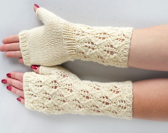White fingerless gloves,  arm warmers, lace wool fingerless gloves, wrist warmers, fingerless mittens, knitted arm warmers, bridal gloves