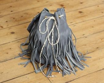 Handmade Real Genuine Leather Duffel Bag Blue Grey Tassel Fringe Boho Festival Bucket Shoulder Bag Drawstring Duffle Handbag