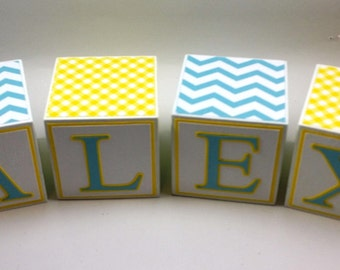 Wooden Name blocks, Yellow and Blue wooden letter blocks, personalized name blocks, personalized wooden blocks, nursery block letters