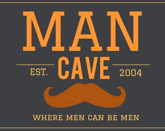 Gray & Orange Man Cave Banner with Mustache