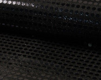 6mm Sparkling Sequin Fabric Material Glitter Sparkle - 6mm sequins - 115cm wide BLACK