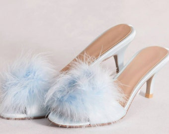 Vintage style kitten heel slippers pink by MinxyVixenVintage