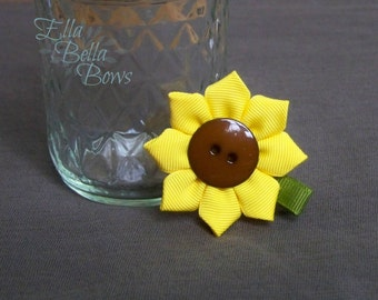 Sunflower Hair Clip, Hair Bow, One (1), Button center, handsewn petals