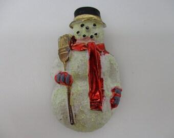 Vintage Hand Painted Glittering Snowman Brooch