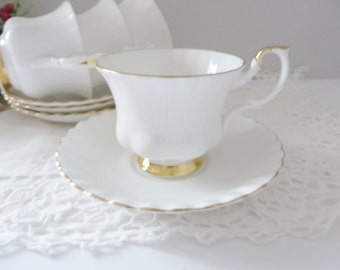Royal Albert vintage 1980's Val D'or white and gold teacup, White teacup,White and gold teacup, Afternoon tea, Classic white cup