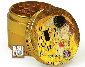 "4 Part Herb Grinder with ""The Kiss""by Gustav Klimt for weed herb and spice [Gold]"
