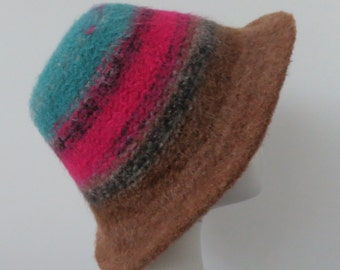 Ready to Ship Hat, Winter Hat, Felted Hat, Wool Hat, Multi-Color