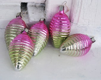 Set of 5 Soviet Christmas tree decoration, Pink Mercury Glass Christmas Glass Ornament - Made in USSR
