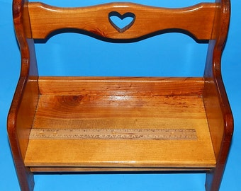 "14 1/2"" Pine Wood Doll Bench Seat/Chair Country Colonial Heart Cut Out - Country Decor"