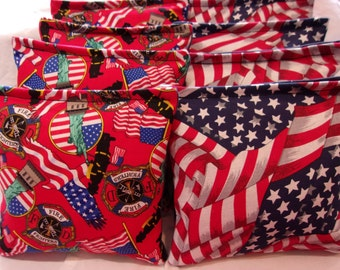 8 ACA Regulation Cornhole Bags - Red White and Blue USA Flags & Firemen Tribute Statue of Liberty