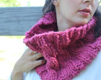 "Cabled Cowl, Fuchsia ""The Emma"""
