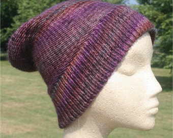 Wool Knit Hat in Purple, Cinnamon and Slate