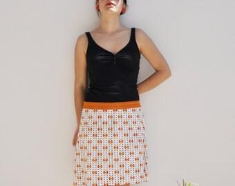 Vintage fabric, flared cotton skirt with elastic belt / gonna svasata tessuto vintage con elasticone