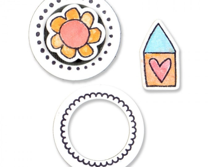 New! Sizzix Framelits Die Set 4PK w/Clear Stamps - Circles and Icons, Flower & House 661100