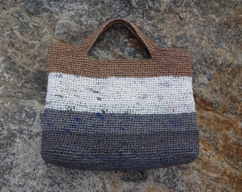 Four Tone Upcycled Plarn Purse - Recycled Plastic Bag - Brown White and Grey Purse