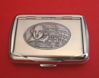 Shakespeare Globe Theatre Chrome Tobacco Tin With Hand Cast Pewter Motif Theater Drama English Teacher Gift Performing Arts Gift