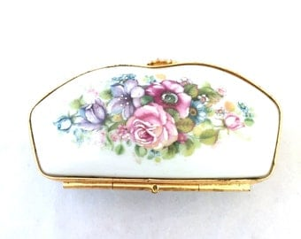 Hinged Limoges France Hand Painted Floral Porcelain, Dresser Trinket Box, Cottage Chic, Shabby Miniature Gold Lidded Jewelry Dressing Table