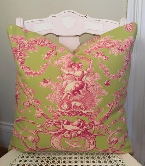 Classic french toile de jouy decor pillow cover french country - Toile de jouy decoration ...