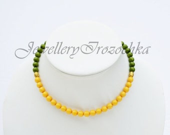 Sale Sunny Ochre and Green Wedding  Necklace,Bridal Jewelry, Bridesmaids Necklace, Bridal Gift