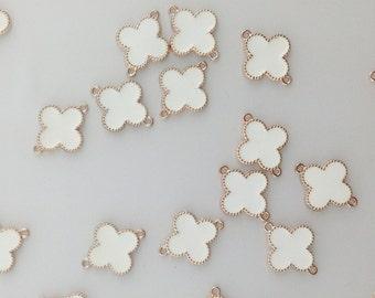 Gold Clover Quatrefoil Connector Charm, white clover charm, quatrefoil charm, gold clover connector // Combo Bracket 3 {CG092}