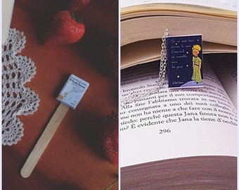 Collana/portachiavi/segnalibro miniatura libro Il piccolo principe - The little prince / Le petit prince book necklace keychain bookmark