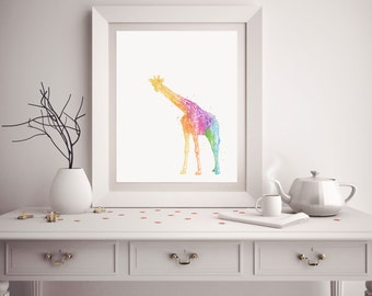Giraffe Print - Watercolor Giraffe - Giraffe Art - Giraffe Watercolor Art - Nursery Decor - Giraffe Wall Art - Watercolor Prints