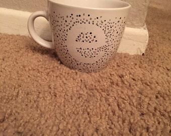 Monogram letter mug with dots